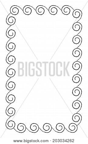 Simple frame with curved swirles rectangular shape isolated on white background. Empty photo framework vector illustration. Framing for photos, interior decoration, documents and certificates