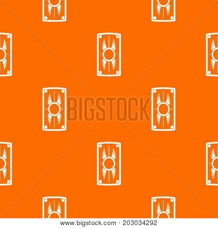 Shield with ornament pattern repeat seamless in orange color for any design. Vector geometric illustration