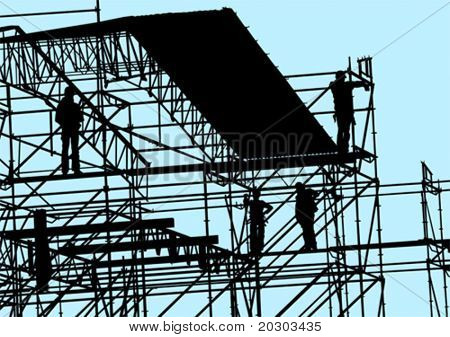 Vector drawing of building structures and working