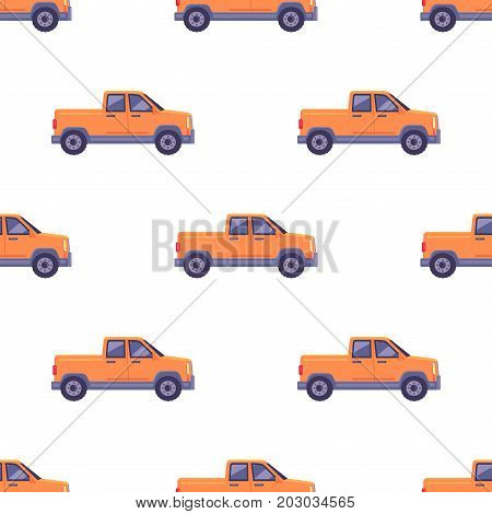 Transport vehicle seamless pattern, isolated orange classical pickup. Ecologically clean car with two doors. Useful and cheap mean of transportation. Four-wheeled automobile in cartoon style vector