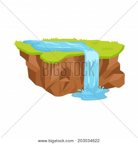 Piece of land with brown soil, green grass and blue river that turns into waterfall isolated on white background. Small landscape vector illustration. Cartoon ground section with all components.