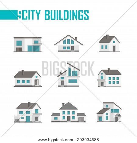 Nine small city buildings set of icons - vector illustration on white background. Low-storey houses with nice facades, balconies. Various shapes of roofs and windows. Grey and blue color