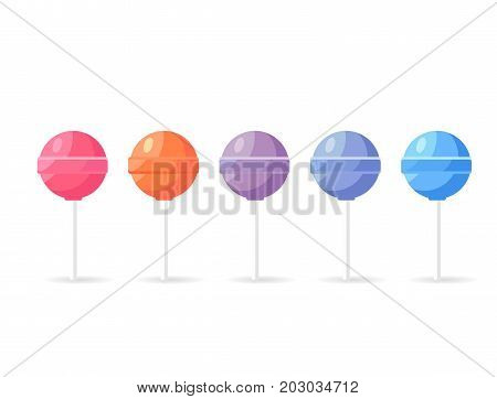 Lollipops candy set isolated on white background. Sweet sugar dessert on stick, lolly bonbons icon vector illustration. Colorful caramels in flat style design. Confectionary treats for children