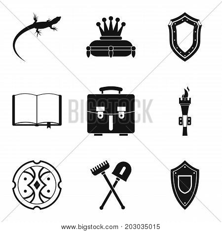 Olden time icons set. Simple set of 9 olden time icons for web isolated on white background