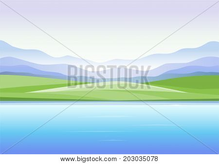 Abstract landscape with mountains and lake - modern vector illustration. Beautiful panoramic view with lake or river, fog, hills, green grass, field, meadow and clear sky