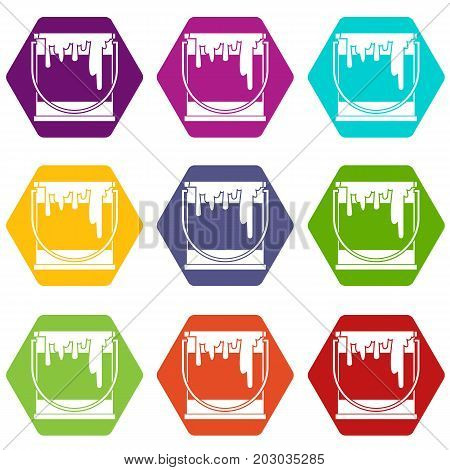 Paint can icon set many color hexahedron isolated on white vector illustration