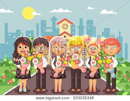 Stock vector illustration cartoon characters children schoolchildren classmates pupils students standing with bouquets flowers in front of building, knowledge day start study back to school flat style