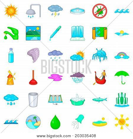 Bathroom icons set. Cartoon style of 36 bathroom vector icons for web isolated on white background