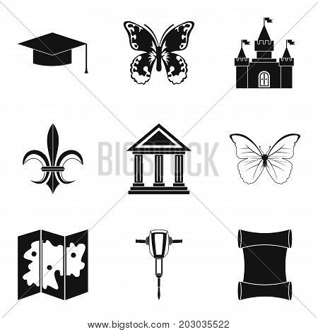 Antiquity icons set. Simple set of 9 antiquity icons for web isolated on white background