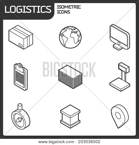 Logistics outline isometric icons. Vector illustration, EPS 10