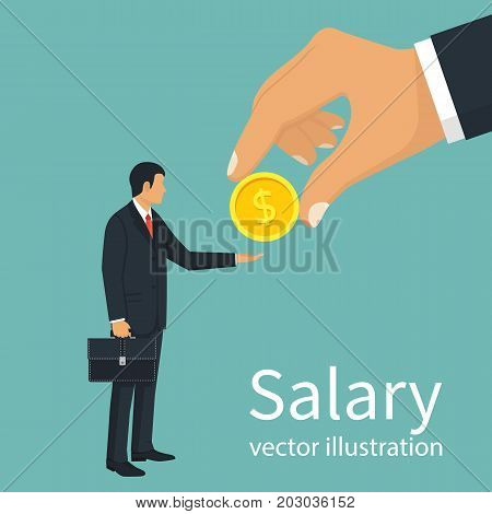 Salary time. Boss holding coin in hand gives worker. Human hand reaching out for money. Employer and staff. Vector illustration flat design. Isolated on background. Pull a hand. People are in line.