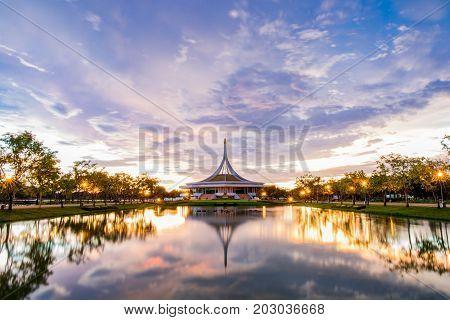 Bangkok, Thailand. - June 17, 2017 : Ratchamangkhala Pavilion at public park name Suan Luang Rama IX on sunset or evening time Bangkok, Thailand.