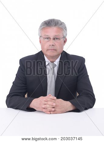 Portrait of a mature gray-haired  business man isolated on white