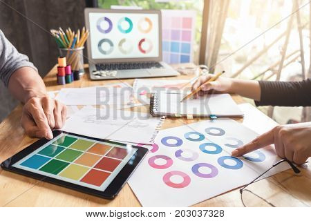 Two young dressmaker or designer colleagues working as fashion designers and drawing sketches for clothes choose color bar in tablet profession and job occupation Fashion Designer Stylish Concept. poster