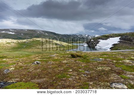 Mountain landscape along the National tourist route Aurlandstjellet. Flotan. Bjorgavegen. Western Norway