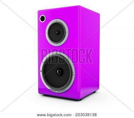 Pink speaker on a white background 3d render