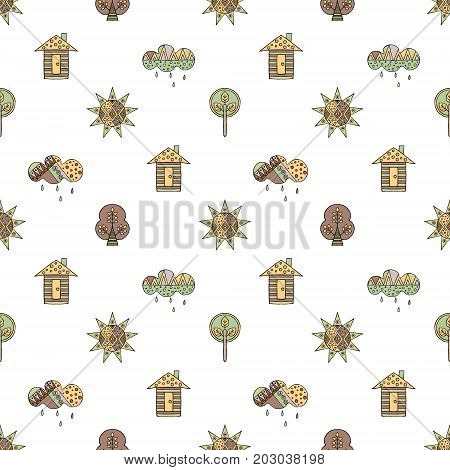 Vector Hand Drawn Seamless Pattern, Decorative Stylized Childish House, Tree, Sun, Cloud, Rain Doodl