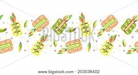 Seamless Vector Hand Drawn Childish Pattern, Border With Fruits. Cute Childlike Pineapple With Leave