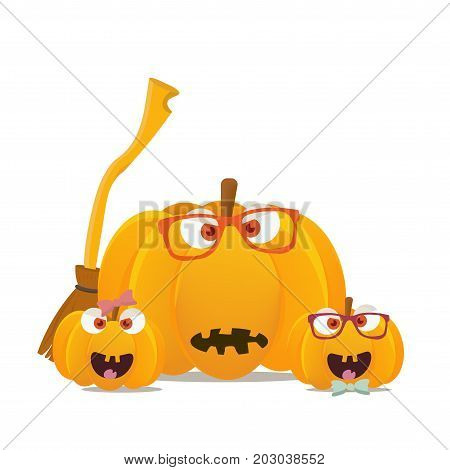 Vector illustration: halloween hipster pumpkins mascots isolated. Pumpkin family faces with witch broom or besom. Great for Halloween, known as Allhalloween, All Hallows' Evening or All Saints' Eve.