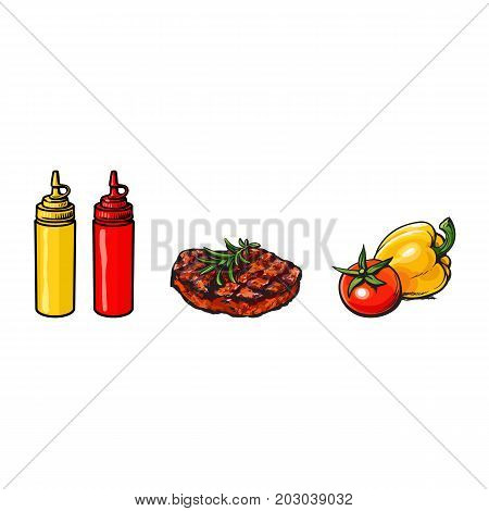 Beef, pork steak, vegetables, ketchup and mustard, healthy fast food concept, sketch vector illustration on white background. Realistic hand drawing of beef, pork steak, vegetables, ketchup, mustard