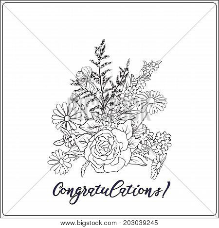 Bouquet with roses and daisies. Traditional European pattern. Stock line vector illustration. Outline hand drawing coloring page for adult coloring book.