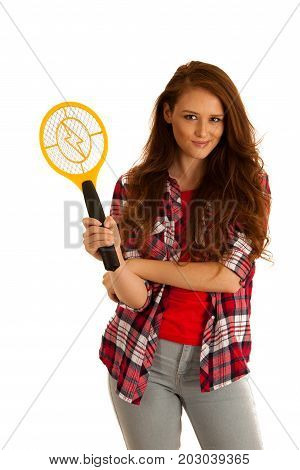 Attractive Beautiful Young Woman Holds Electroc Racket For Kiling Flys