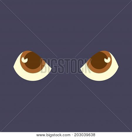Spooky or Scary Eyes in the dark Background. Great as halloween poster template or scary movie or monster party ticket mockup. Vector illustration in cartoon style.