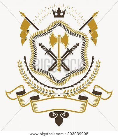 Vintage decorative emblem composition heraldic vector illustration