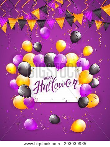 White card with lettering Happy Halloween on violet background with multicolored balloons, pennants, streamers and confetti, illustration.
