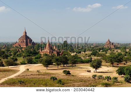 Ancient pagodas and spires of the temples of the World Heritage site at Bagan Myanmar