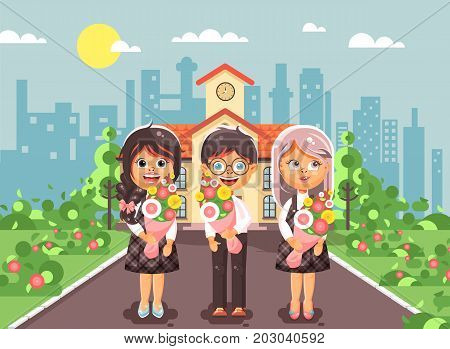 Stock vector illustration characters children two schoolgirls and boy classmates pupils students standing with bouquets flowers in front of building knowledge day start study back to school flat style.
