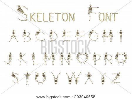 Dancing skeletons font, set of letters. Stock line vector illustration