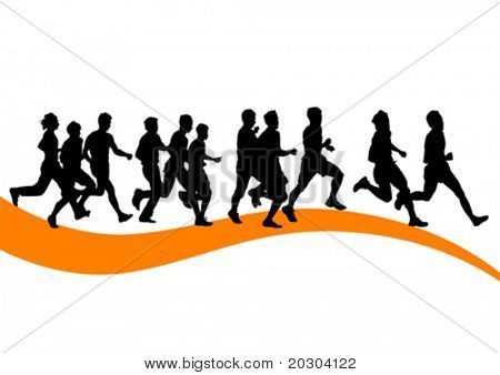 Vector drawing running athlete an. Silhouette of sports people