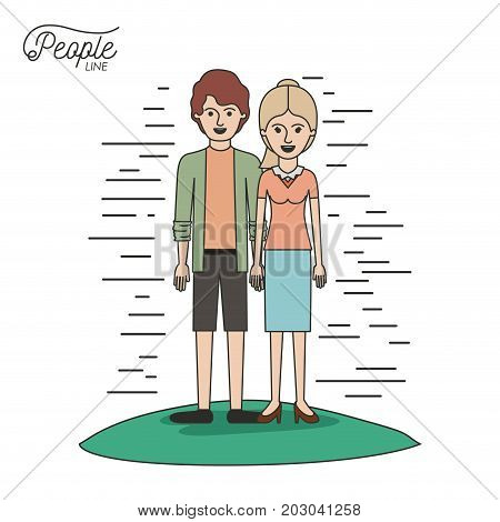 caricature couple people line young man and blonded woman with ponytail hair standing casual clothes in grass on white background vector illustration