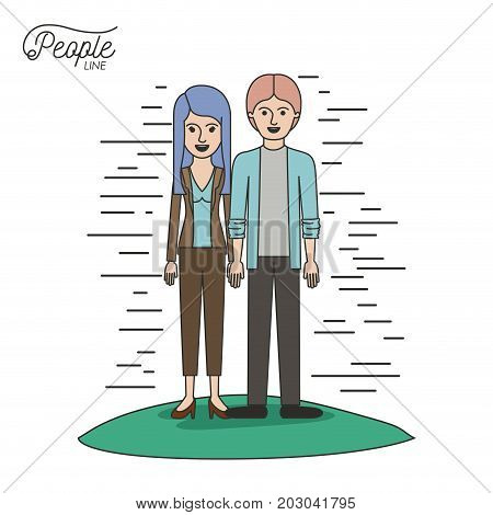 caricature couple people line young man and woman with straight long hair in casual wear standing in grass on white background vector illustration