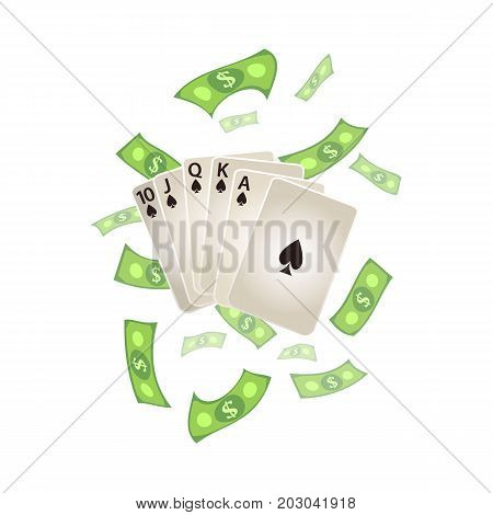 vector flat cartoon Royal Flush in spades poker cards, rain of dollar cash money around. Isolated illustration on a white background. Sign of profit, easy money. Jackpot, bingo casino design poster