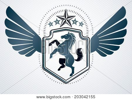 Vintage decorative heraldic vector emblem composed with horse illustration eagle wings and pentagonal stars