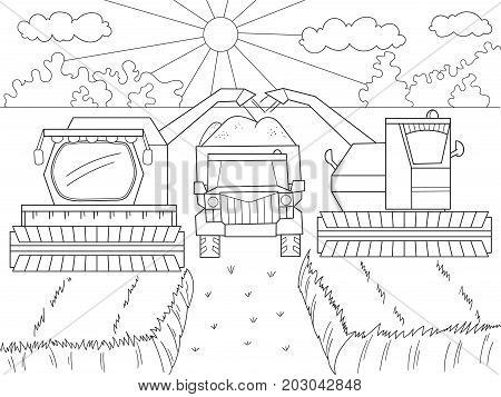 Cartoon, coloring book for children. Autumn harvesting of wheat. Agricultural machinery. Combine harvester and kamaz. Vector illustration of black and white.