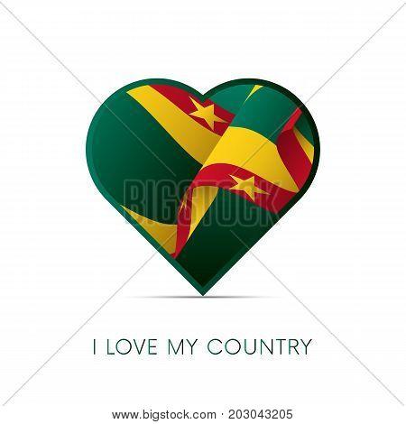 Grenada flag in heart. I love my country. sign. Vector illustration.