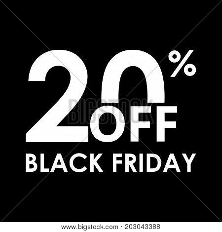 20% off. Black Friday design template. Sales discount price shopping and low price symbol. Vector illustration.