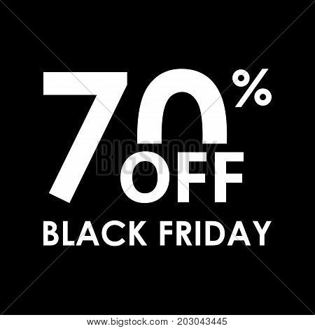 70% off. Black Friday design template. Sales discount price shopping and low price symbol. Vector illustration.