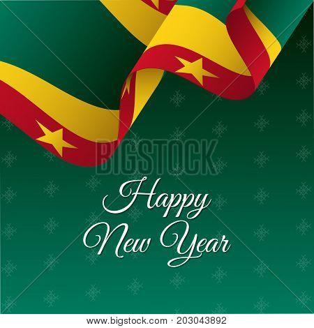 Happy New Year banner. Grenada waving flag. Snowflakes background. Vector illustration.