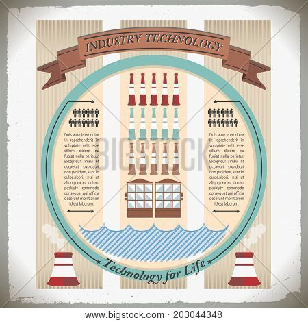 Industry technology composition with smokestacks and engineering inventions rows of man icons and design elements vector illustration