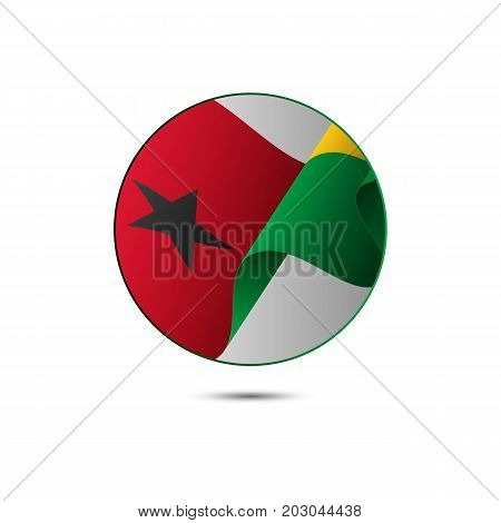 Guinea-Bissau flag button with shadow on a white background. Vector illustration.