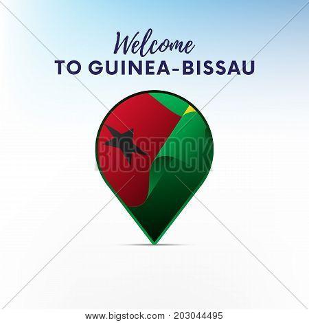 Flag of Guinea-Bissau in shape of map pointer or marker. Welcome to Guinea-Bissau. Vector illustration.