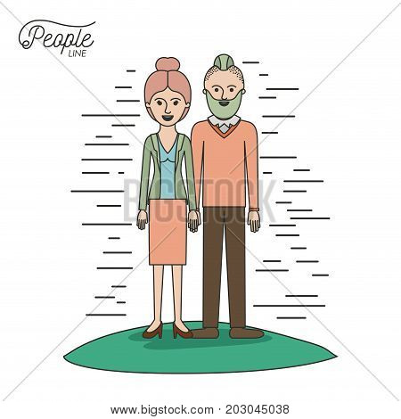 caricature couple people line woman with collected hair in skirt and man with modern hairstyle standing casual clothes in grass on white background vector illustration