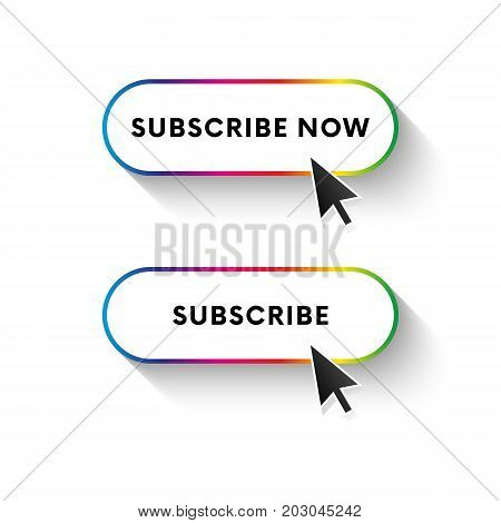 Subscribe now button. Subscribe button. Spectrum gradient. Long shadow. Vector illustration.