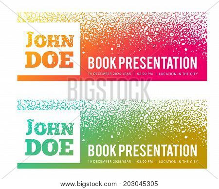 Presentation of the book, meeting with the author. Vector illustration on a background of letters