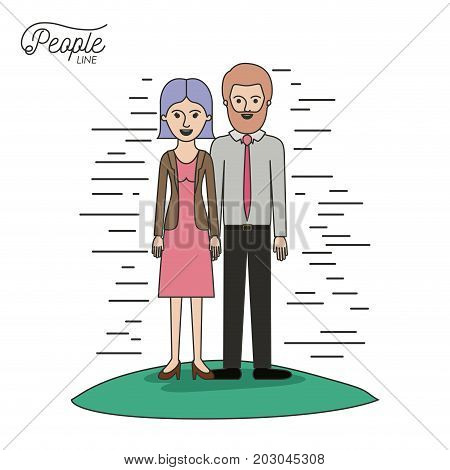 caricature couple people line woman in dress with straight short hair and bearded man standing formal clothes in grass on white background vector illustration
