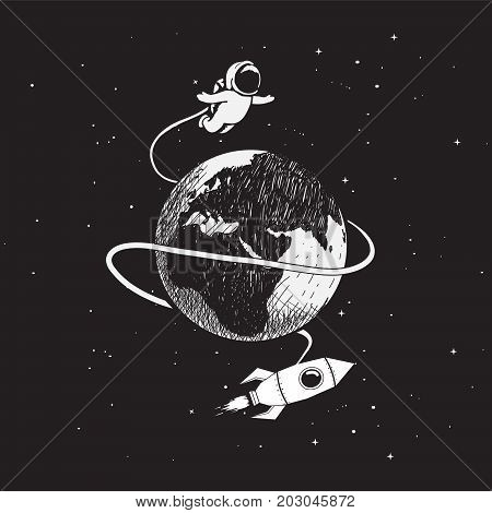Cute astronaut flying around the Earth.Childish vector illustration.Prints hand drawn style